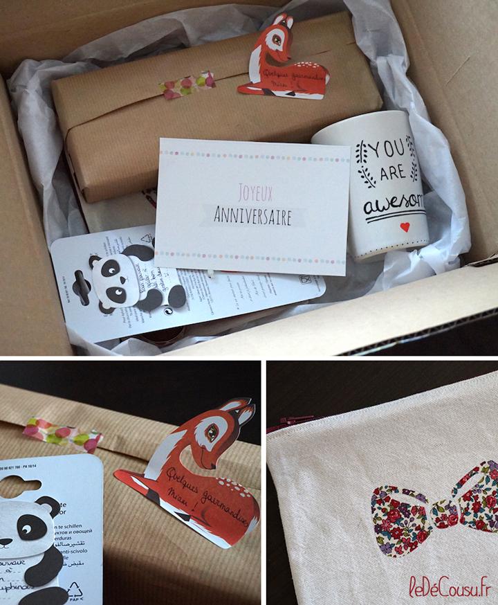Une petite boite surprise pour un anniversaire le d cousu - Decorer boite carton pour anniversaire ...